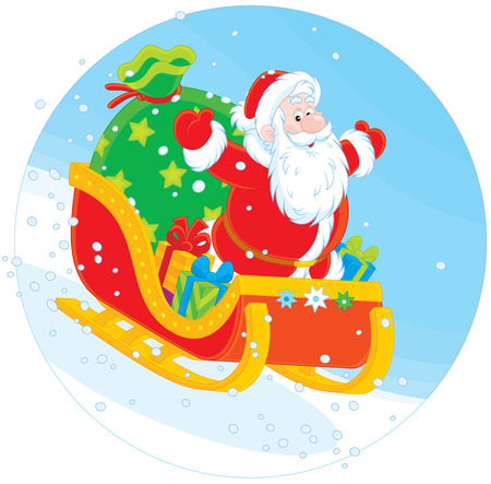 kringle: Santa Claus sleighing with Christmas gifts