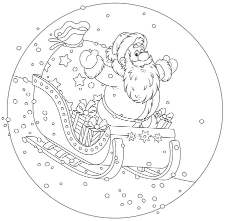 grandfather frost: Santa Claus sleighing with Christmas gifts