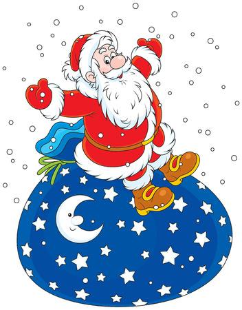 sackful: Santa Claus sitting on his big bag of Christmas gifts Illustration