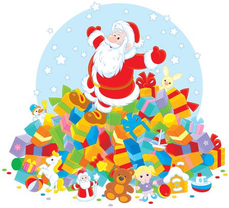 christmassy: Santa Claus on a big pile of Christmas gifts
