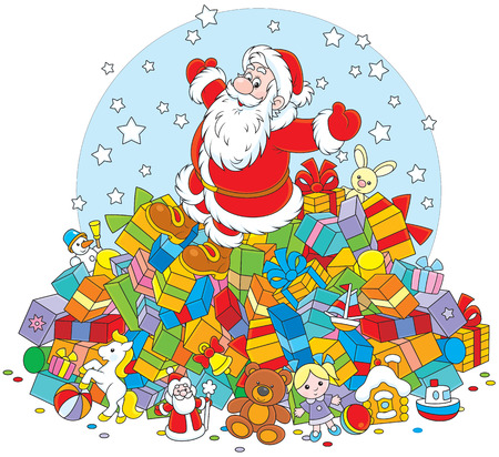 st  nicholas: Santa Claus on a big pile of Christmas gifts