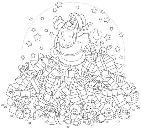 moroz: Santa Claus on a big pile of Christmas gifts