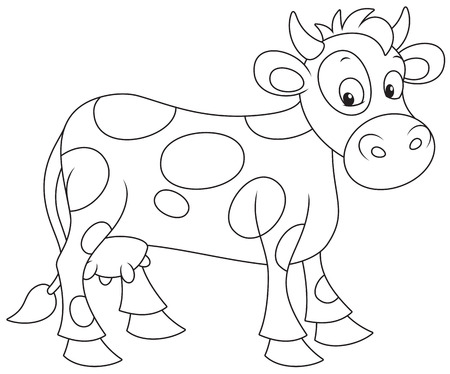 outlined isolated: Cow