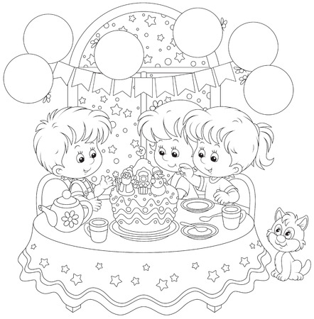 Children with a Christmas cake Vector
