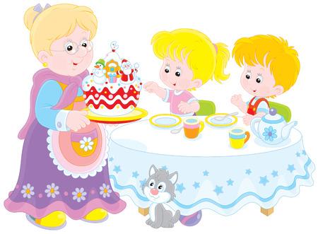 gateau de noel: Mamie et petits-enfants avec un g�teau de No�l