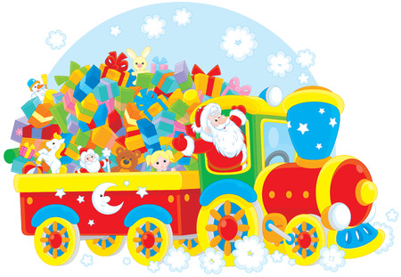 moroz: Santa Claus delivering his Christmas gifts on a train