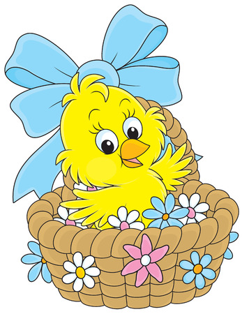 Easter Chick in a basket with flowers Vector