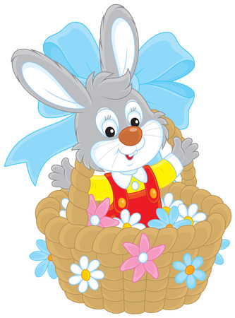 festal: Easter Bunny in a basket with flowers