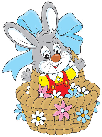 colorfully: Easter Bunny in a basket with flowers
