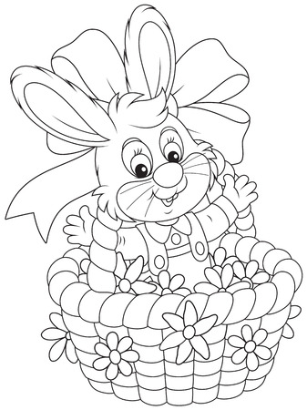 Easter Bunny in a basket with flowers Vector