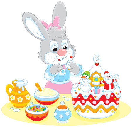 cottontail: Bunny decorating a Christmas cake