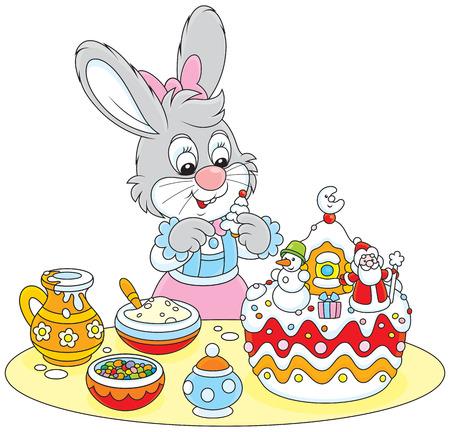 spice cake: Bunny decorating a Christmas cake