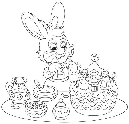 Bunny decorating a Christmas cake Vector
