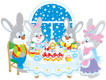 spice cake: Rabbits at the holiday table with a Christmas cake