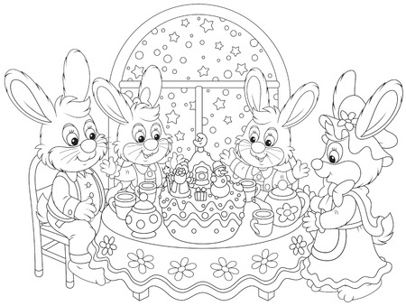Rabbits at the holiday table with a Christmas cake Vector