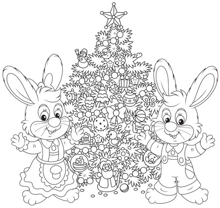 Little Rabbits and Christmas Tree Vector