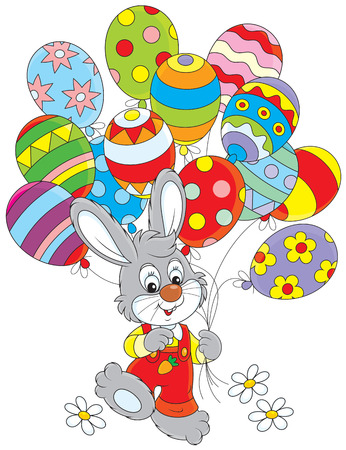 eastertide: Easter Bunny with balloons