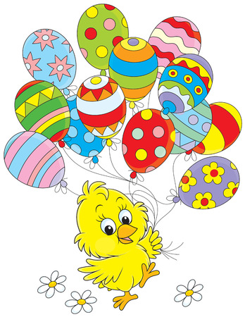 Easter Chick with balloons Vector