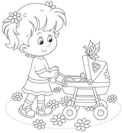 tot: Girl with a toy baby buggy
