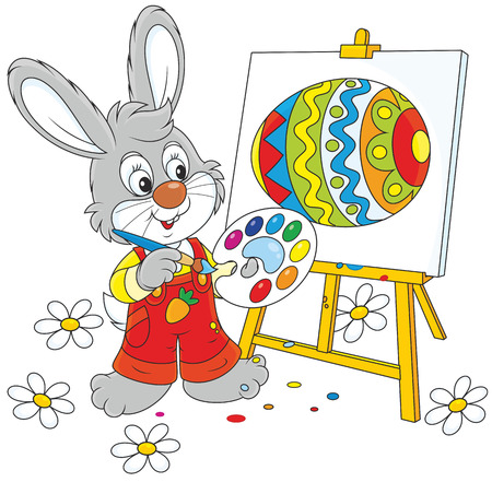 cottontail: Little rabbit drawing a colorful Easter egg Illustration