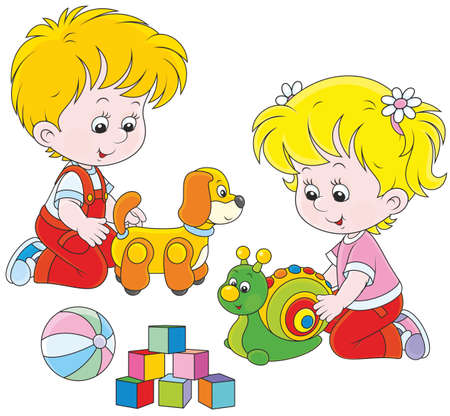 baby playing toy: Little girl and boy playing with their toys Illustration