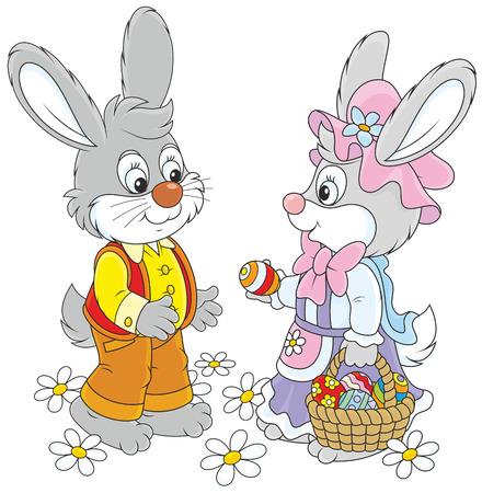 Easter Bunnies Vector
