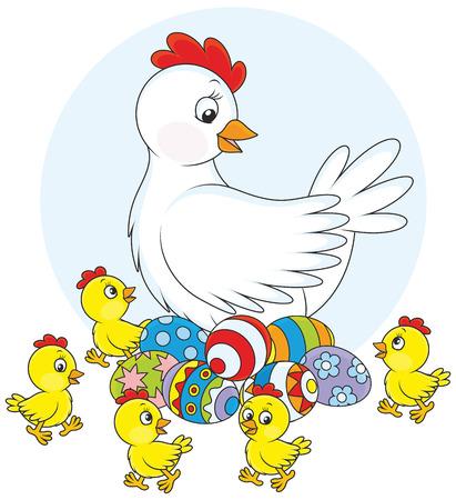 pollitos: Gallina y polluelos