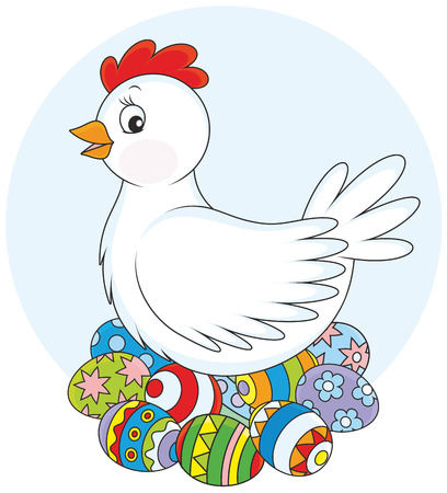 Hen and Easter eggs Vector