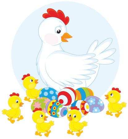poult: Gallina blanca, huevos de Pascua y polluelos amarillos Vectores