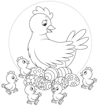 poult: Gallina, huevos de Pascua y polluelos Vectores