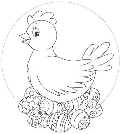 coloring easter egg: Hen sitting on Easter eggs