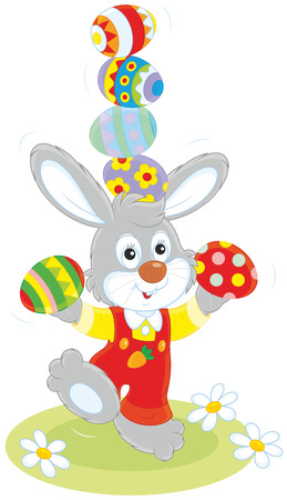 cartoony: Easter Bunny juggler Illustration