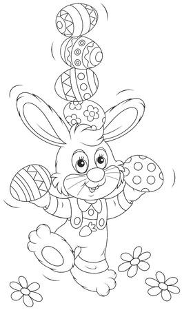 Easter Bunny juggler Vector