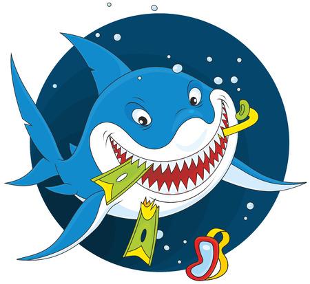 squalo bianco: Grande squalo bianco con una maschera, boccaglio e pinne