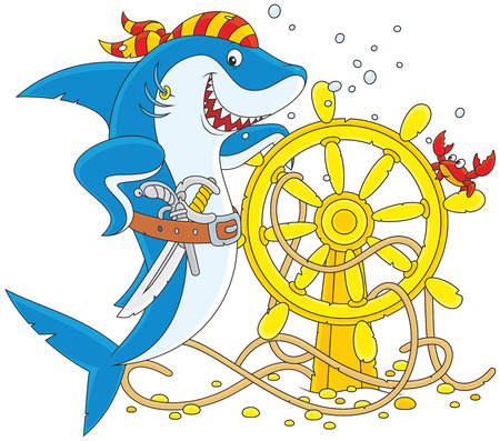 man eater: Pirate Shark with a pistol, a saber and a steering wheel Illustration
