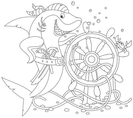 dog shark: Pirate Shark with a pistol, a saber and a steering wheel Illustration