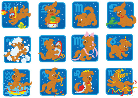 Zodiac signs with a funny brown pup Vector