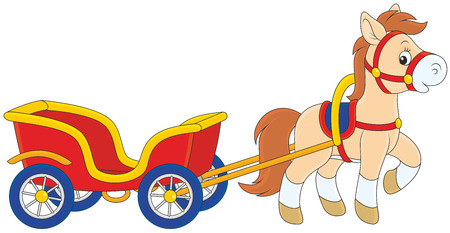 horse cart: Pony with a cart Illustration
