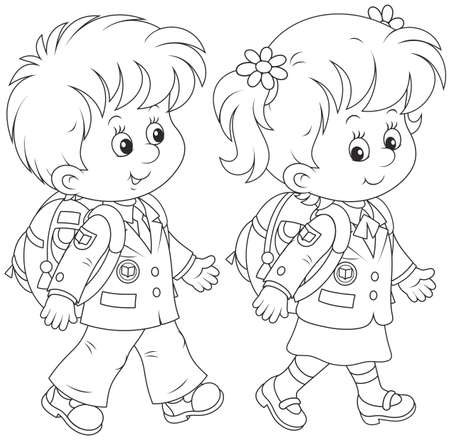 schooldays: Schoolchildren Illustration