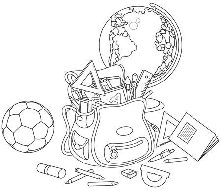 escuela primaria: Mochila, globo y la bola