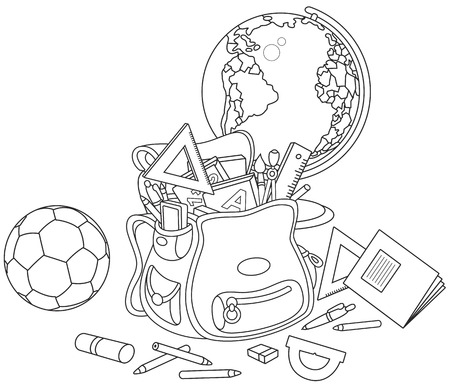 supplies: Schoolbag, globe and ball Illustration