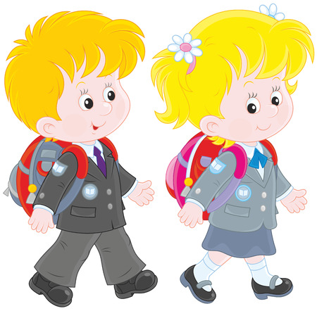1 school bag: Schoolchildren Illustration