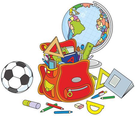 material escolar: Mochila, globo y la bola
