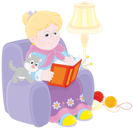 senile: Granny reading