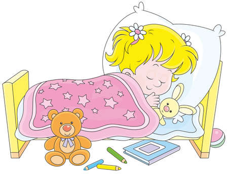 cartoon bed: Little girl sleeping in her bed