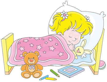 enfant qui dort: Petite fille dormir dans son lit Illustration