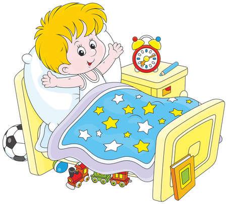 lying on bed: Boy despertarse