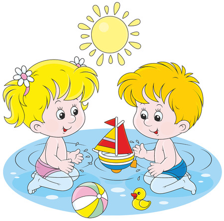 the infancy: Children playing in water