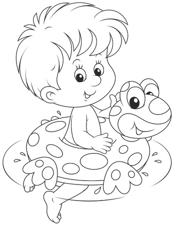 rubber ring: Boy with a rubber ring Illustration