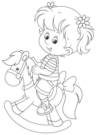 kiddy: Girl and toy horse